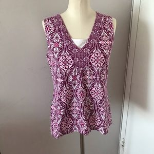 New Croft & Barrow Pink Printed Tank Medium